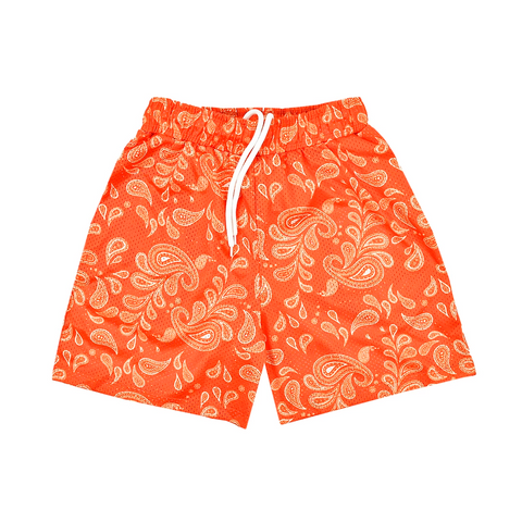 """PAISLEY"" Mesh Shorts in Orange/White"