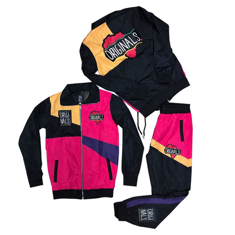 "Originals ""Motherland"" Windbreaker Suit in Pink/Black/Purple/Orange"