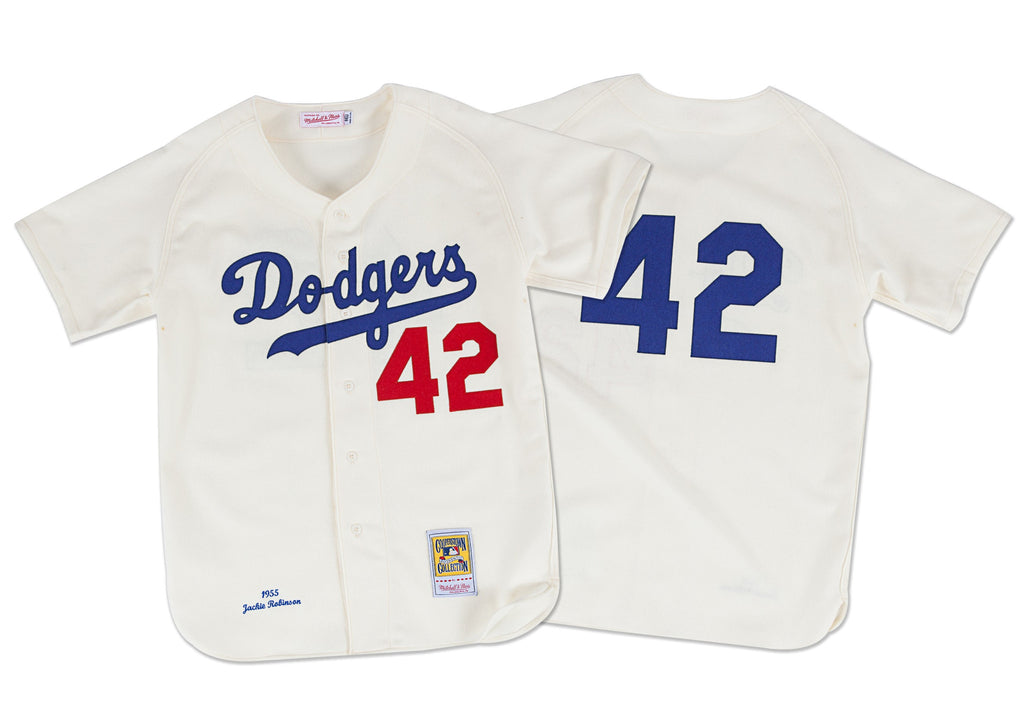 Mitchell & Ness Jackie Robinson 1955 Authentic Jersey Brooklyn Dodgers In Cream