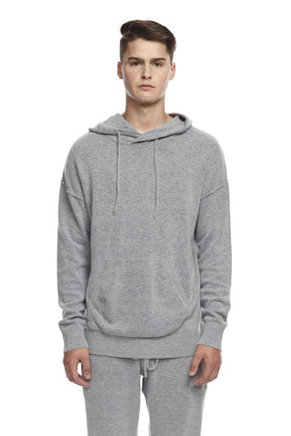 Knit Pullover Hoodie in Grey