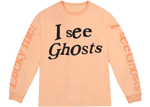 Kids See Ghosts I See Ghosts Long Sleeve Tee Neon Orange