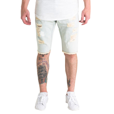 Crysp Denim Olympic Shorts In Light Blue/White