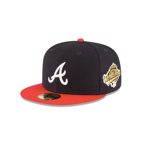 "New Era Atlanta Braves 1995 World Series Collection Sidepatch ""GREY BOTTOM"" 59Fifty Fitted Cap"