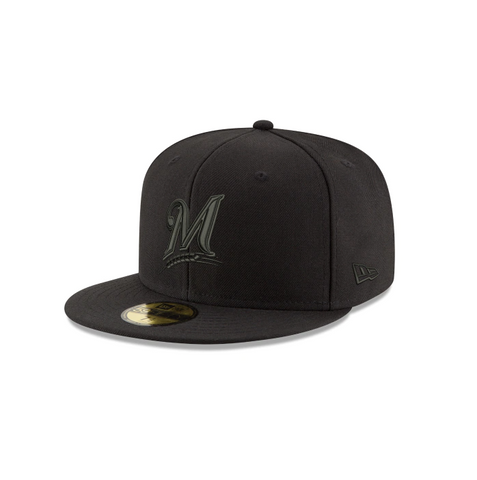 New Era Milwaukee Brewers MLB Black on Black 59FIFTY Fitted Cap