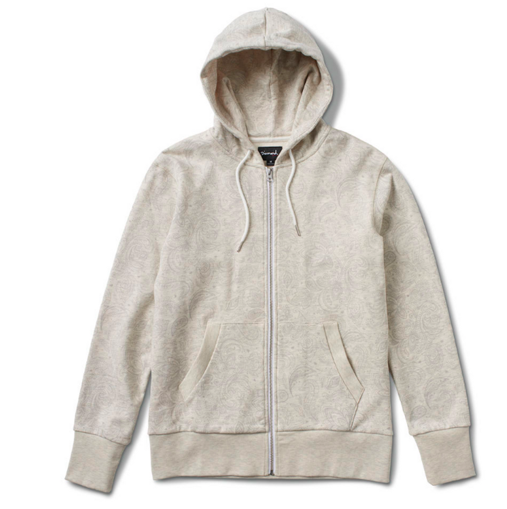Diamond Radiant  Loop Zip Up Hoodie In Heather Beige