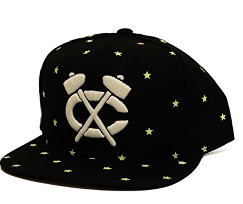 Mitchell & Ness Chicago Blackhawks Starry Glow In The Dark Snapback In Black