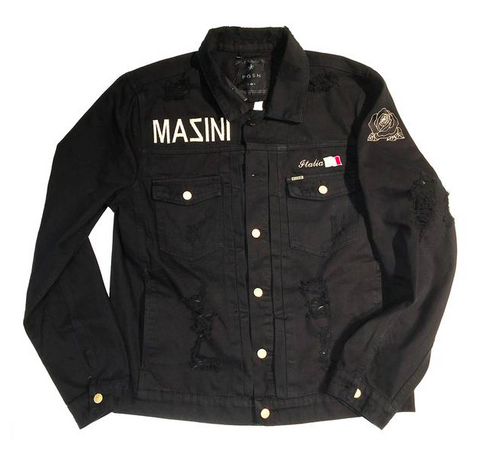 "Posh Denim Distressed Jacket ""Posh x Mazini x Dave East"" in Black"
