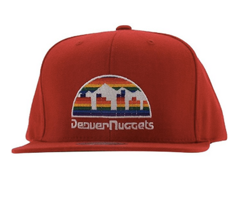 Denver Nuggets Solid Red Adjustable Vintage Snapback Hat Mitchell & Ness in Red