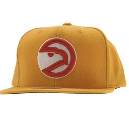 Mitchell & Ness Atlanta Hawks Basic Logo Snap Back Hat in Yellow