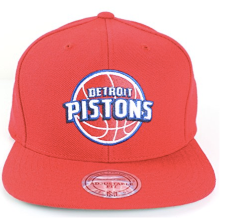 750ec863e7b Detroit Pistons NBA Mitchell   Ness Team Logo Solid Wool Adjustable Snapback  Hat ...