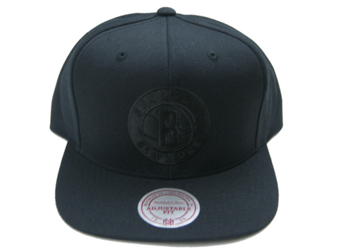 Mitchell & Ness Men's Brooklyn Nets Black on Black Tonal Snapback Hat
