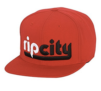 Portland Trailblazers Rip City Mitchell & Ness Red Snapback Cap in Red