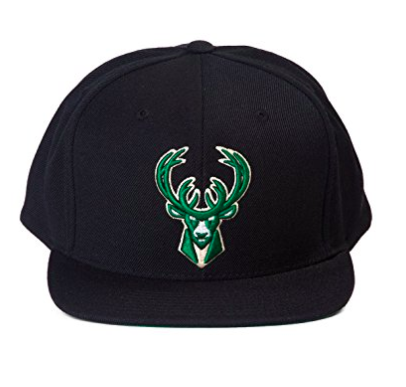 Milwaukee Bucks NBA Mitchell & Ness Team Logo Solid Wool Adjustable Snapback Hat Black
