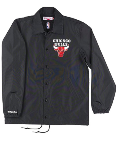 Mitchell & Ness Chicago Bulls Mens Coaches Jacket in Black