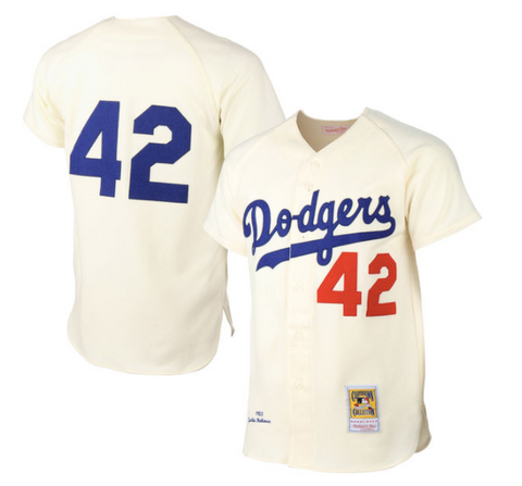 Brooklyn Dodgers Jackie Robinson Mitchell & Ness Cream MLB Authentic Jersey