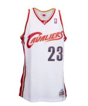 buy popular 1ba02 a51e5 LeBron James 2003-2004 Cleveland Cavaliers Mitchell & Ness NBA Swingman  Jersey White