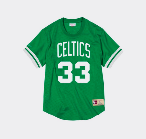 Mitchell Ness Larry Bird Name & Number Mesh Crewneck Boston Celtics