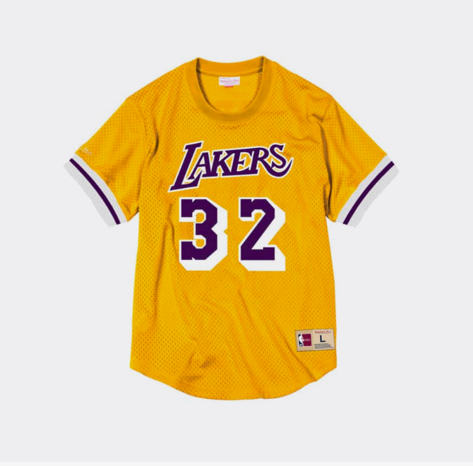 Mitchell Ness Magic Johnson Name & Number Mesh Crewneck Los Angeles Lakers