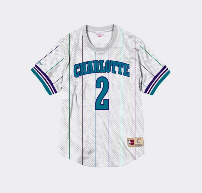 Mitchell Ness Larry Johnson Name & Number Mesh Crewneck Charlotte Hornets