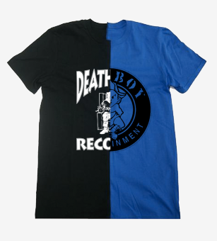 """Bad Boy Meets Death Row"" Split Tee in Black / Royal Blue"