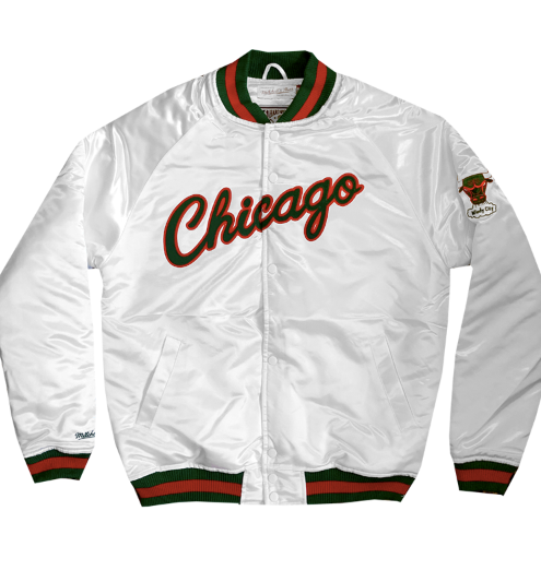 Jeffersons Exclusive Mitchell & Ness Chicago Bulls Satin Jacket in White, Red & Green