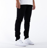 "Tailored ""1935"" Ripped Skinny Denim Jeans in Black"