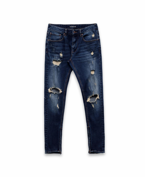 "Konus ""Heavy Distressed"" Zip Denim in Dark Blue"