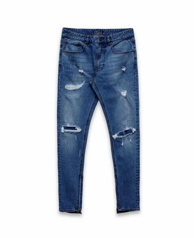 "Konus ""Distressed Wash"" Zip Denim in Blue"
