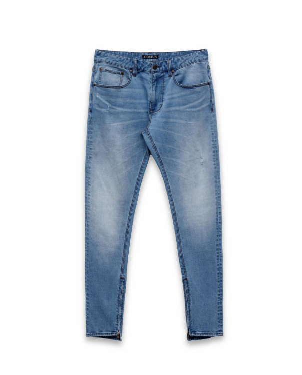 "Konus ""Mid Wash"" Zip Denim in Light Blue"