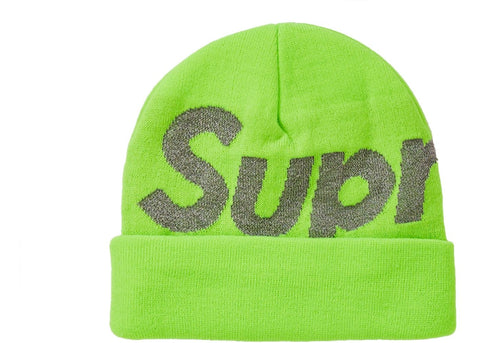Supreme Big Logo Beanie in Bright Green (FW18)