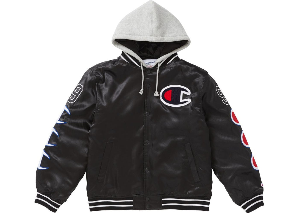 Supreme Champion Hooded Satin Varsity Jacket in Black