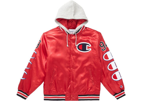 Supreme Champion Hooded Satin Varsity Jacket in Red