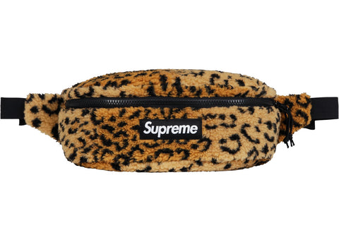 Supreme Leopard Fleece Waist Bag Yellow