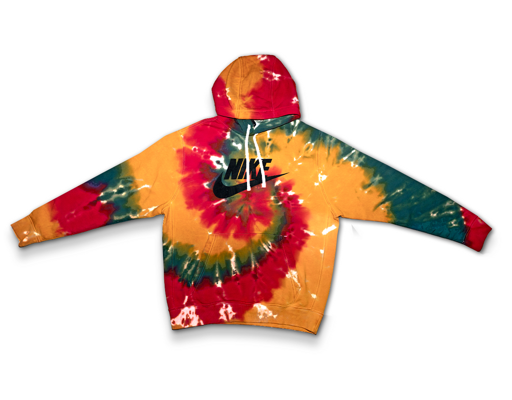 Custom Tie Dyed Nike Club Fleece GX Hoodies // Forrest Green, Antique Yellow & Red