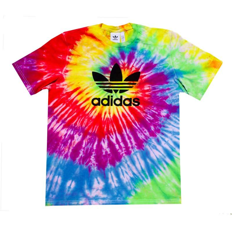 Adidas x Jeffersons Custom Rainbow Swirl Tie Dyed T-Shirts