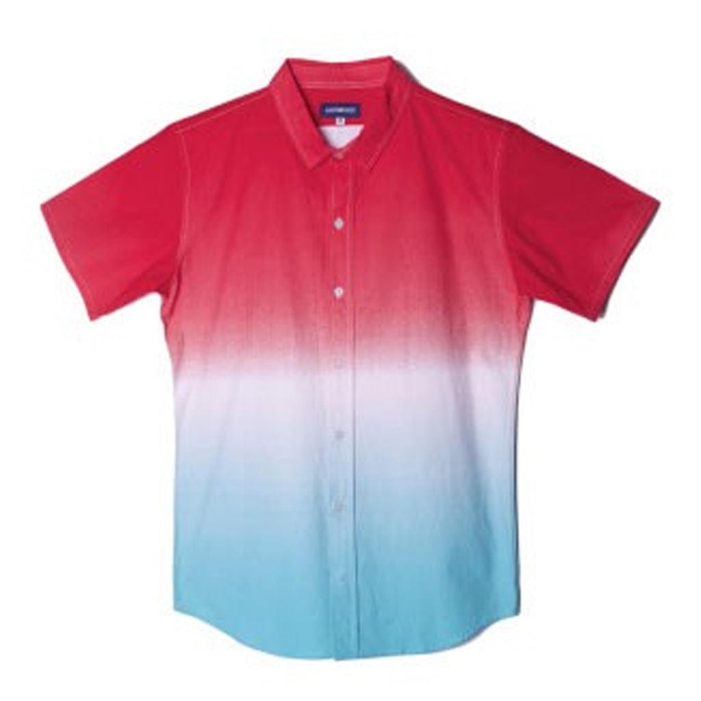 Sunset Dye Short Sleeve Button Up Woven Shirt