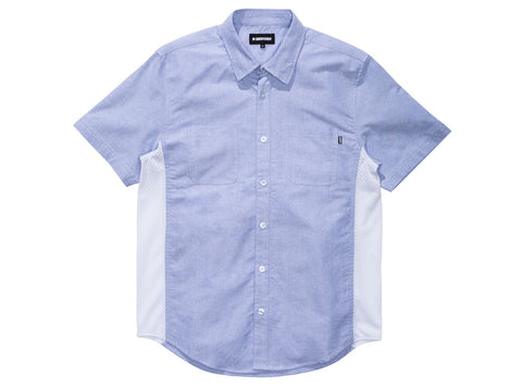 Undefeated Mesh Contrast Button Up Shirt In Light Blue