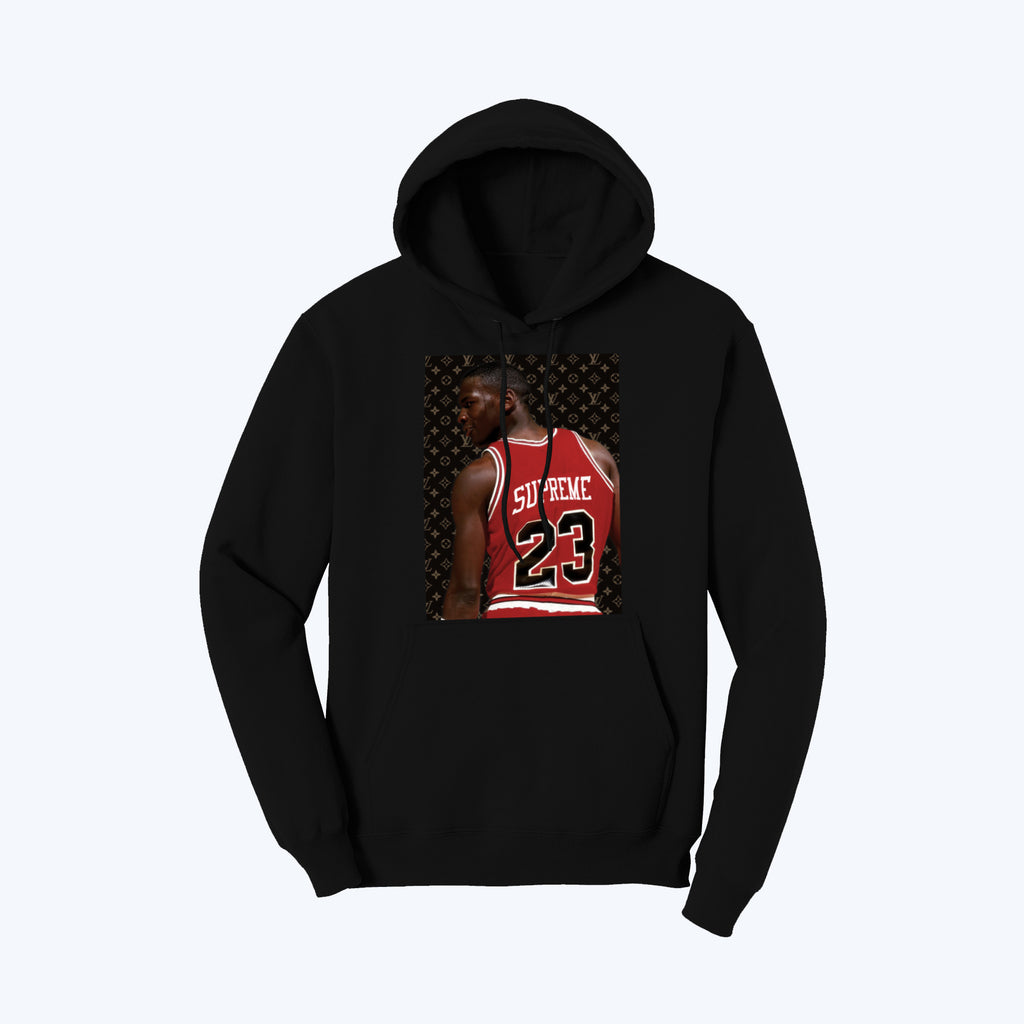 """Supreme Goat"" Pullover Fleece Hoodie in Black"