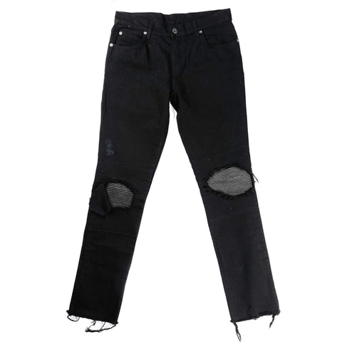 KNEE PATCH DENIM JEANS in BLACK
