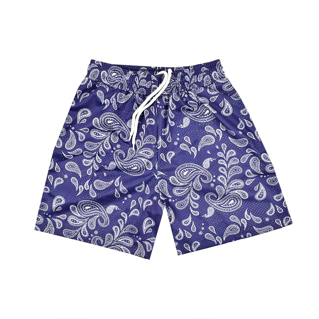 """PAISLEY"" Mesh Shorts in Navy Blue"