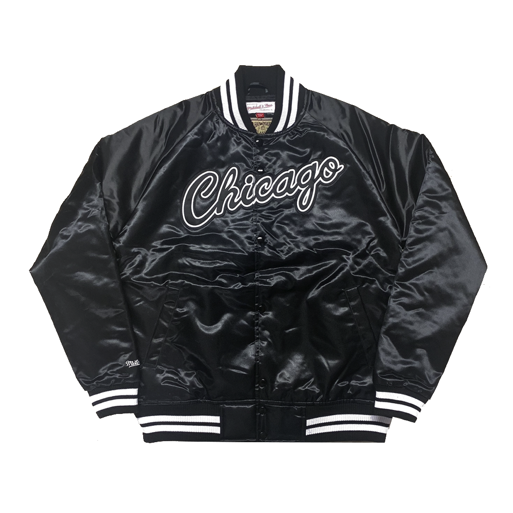 e02cee3d5c9 Limited Mitchell   Ness Chicago Bulls Holiday 2018 Satin Jacket in  Black White