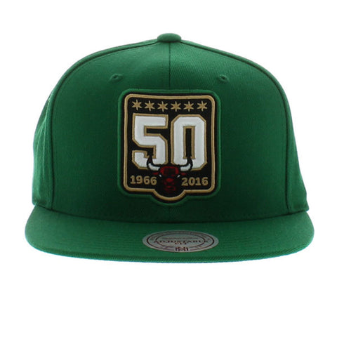 Mitchell & Ness Chicago Bulls 50th Anniversary Snapback In Green