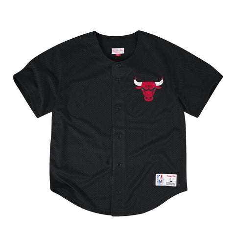 Mitchell & Ness NBA Chicago Bulls Mesh Front Button Jersey in Black