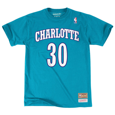 Mitchell & Ness Dell Curry Name & Number Charlotte Hornets Tee In Teal
