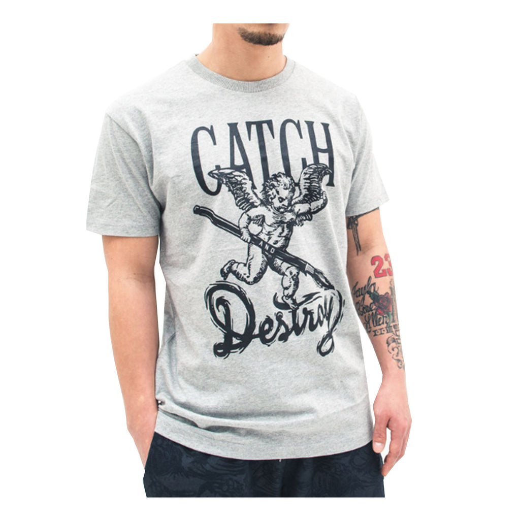 Catch & Destroy Cherub Tee In Heather Grey