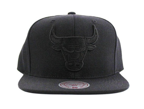 Mitchell & Ness Chicago Bulls Black on Black Snapback Hat Black Bottom