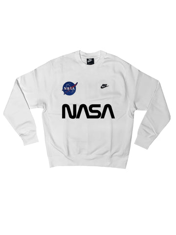 "Fall19 Nike ""NASA"" Custom Crewneck Sweatshirt in White"