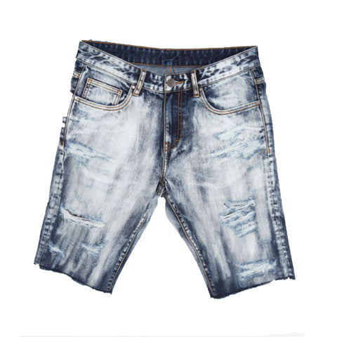 Crysp Denim Diamond Shorts In Blue