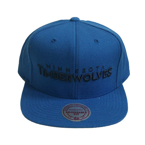 sports shoes 141b1 4bc24 NBA Mitchell Ness Wordmark Minnesota Timberwolves Snapback Blue