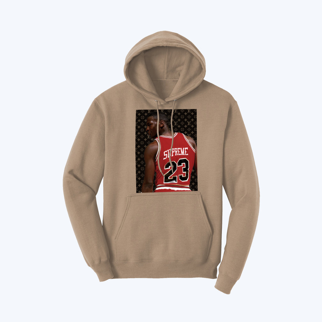 """Supreme Goat"" Pullover Fleece Hoodie in Light Mocha"